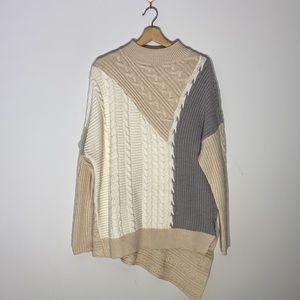 Colour Block Knit Crewneck Sweater